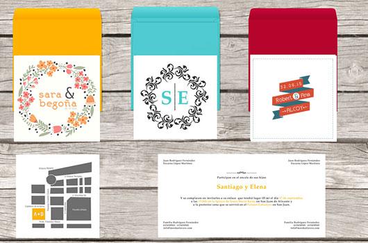 Invitaciones de boda originales. Invitaciones tipográficas