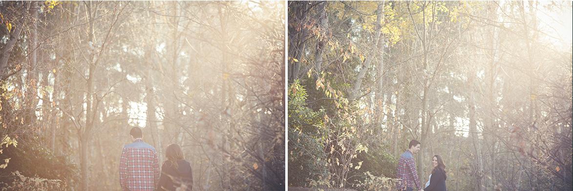 Fotografía de embarazo en el bosque